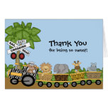 It's a Jungle Baby Train Baby Shower Thank You Stationery Note Card