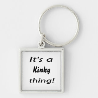 it's a kinky thing! Silver-Colored square keychain