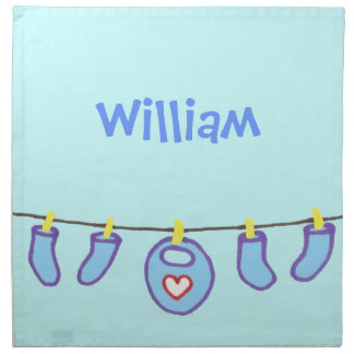 It's A New Baby Boy! Personalized Name Cloth Napkins