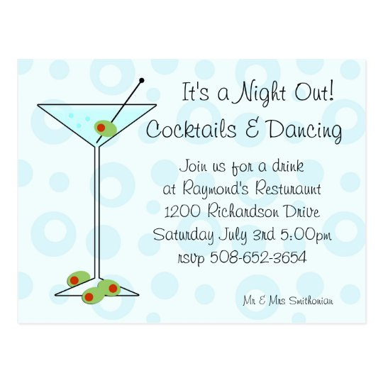 It's a Night Out invitation Postcard