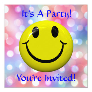 It's A Party! Fun Smiley Happy Face Invitation