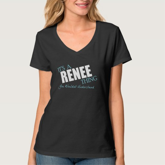 It's a RENEE thing - blue and white text T-Shirt