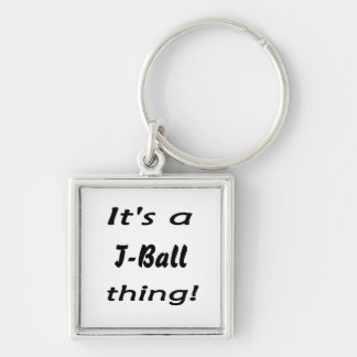 It's a t-ball thing! Silver-Colored square keychain