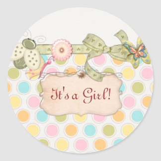 It's a Whimsey Girls BABY SHOWER Gift Classic Round Sticker
