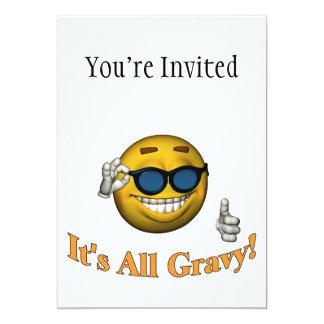 "It's All Gravy Smiley Face 5"" X 7"" Invitation Card"