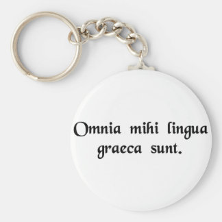 It's all Greek to me. Basic Round Button Keychain