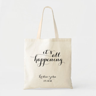 It's All Happening Script Wedding Tote Bags