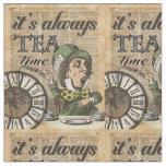 """""""It's always tea time"""" Mad Hatter Dictionary Art Fabric"""