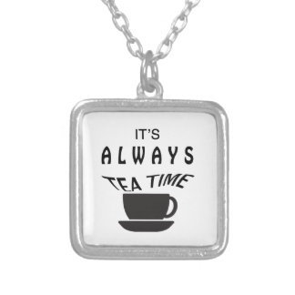 Its Always Tea Time Silver Plated Necklace