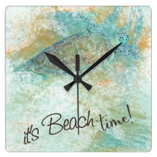 It's Beach Time Sea Turtle Clock