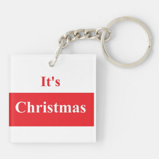 It's Christmas Square (double-sided) Keychain