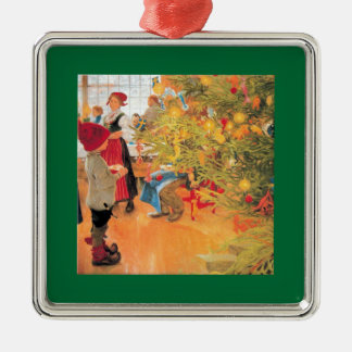 It's Christmas Time Again - Boy Looking at Tree Silver-Colored Square Ornament