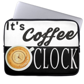 it's coffee o'clock text clock cup hipster message computer sleeve