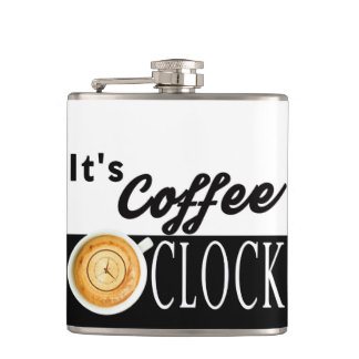 it's coffee o'clock text clock cup hipster message hip flask