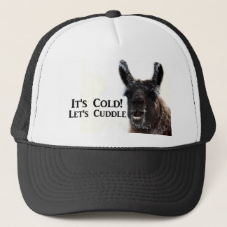 its cold lets cuddle trucker hat