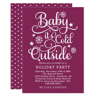 It's Cold Outside | Berry Holiday Party Invitation