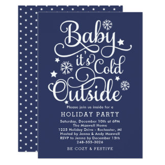 It's Cold Outside | Blue Holiday Party Invitation