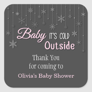 Its Cold Outside Snowflakes Baby Shower Sticker