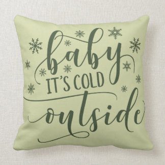 It's Cold Outside | Winter Snowflakes Throw Pillow