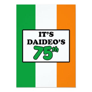 It's Daideo's 75th Birthday Irish Flag Invite