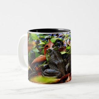 It's fall season on the Froggyville pond Two-Tone Coffee Mug