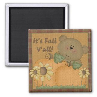 """""""It's Fall Y'all"""" Autumn Teddy Bear Magnet"""