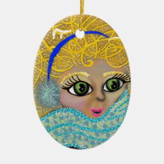it's freezing ceramic oval ornament