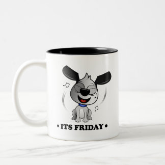 'It's Friday' Fluff Dog two tone black mug. Two-Tone Coffee Mug