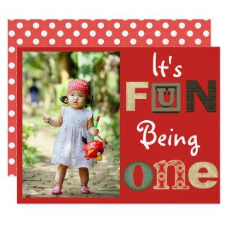 """It's Fun Being One"" Birthday Invitation"