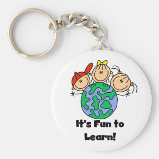 It's Fun to Learn Basic Round Button Keychain