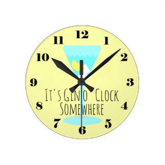 It's Gin o'Clock Somewhere - bar or kitchen Wallclock