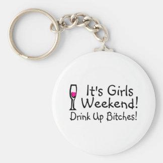 Its Girls Weekend Drunk Up Wine Basic Round Button Keychain