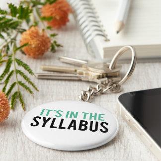 It's in the Syllabus   Teacher Humor Basic Round Button Keychain