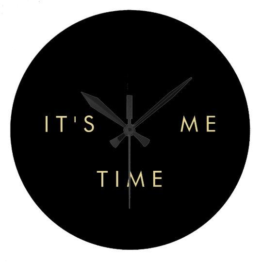 It's Me Time Elegant Gold on Black Wallclocks
