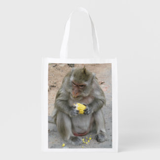 It's Mine!! ... Wild Thai Macaque Monkey Reusable Grocery Bag