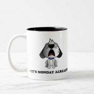 'It's Monday already' Fluff Dog two tone black mug