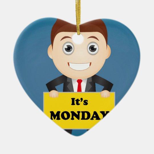Its Monday Ceramic Heart Ornament