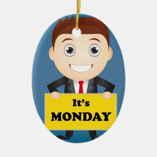 Its Monday Ceramic Oval Ornament