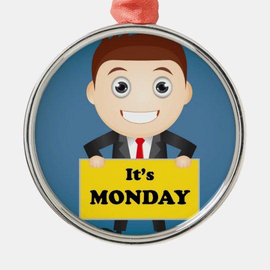 Its Monday Silver-Colored Round Ornament