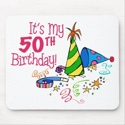 It's My 50th Birthday (Party Hats) Mouse Mats