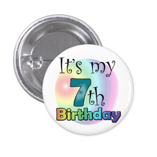 It's my 7th Birthday bleu Macaron Rond 2,50 Cm