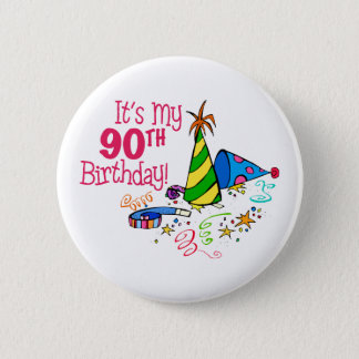 It's My 90th Birthday (Party Hats) 2 Inch Round Button