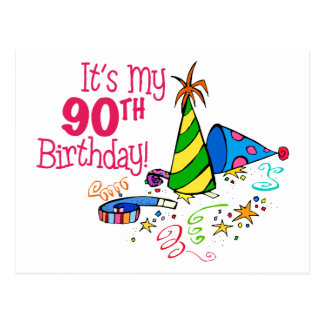 It's My 90th Birthday (Party Hats) Postcard