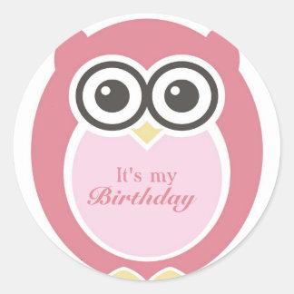 It's My Birthday Stickers Cute Pink Owl Cartoon