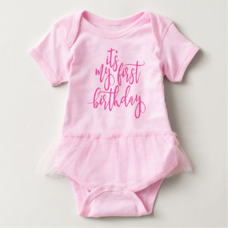 It's My First Birthday Pink Handwritten Script Baby Bodysuit