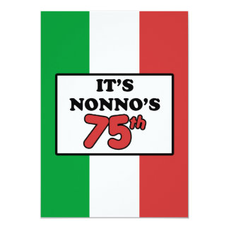 It's Nonno's 75th Birthday Italian Flag Invite