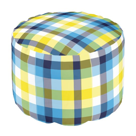 It's Not a Picnic Without Rain Plaid Pouf