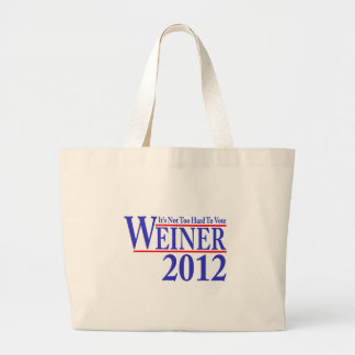 It's Not Too Hard To Vote Weiner 2012 Large Tote Bag