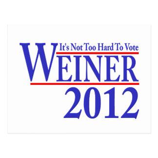It's Not Too Hard To Vote Weiner 2012 Postcard