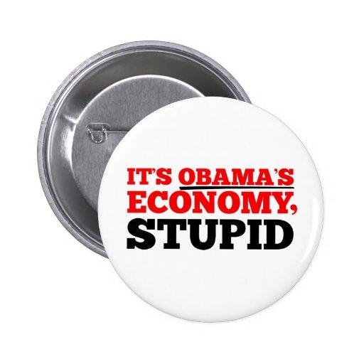 It's Obama's Economy Stupid. Pinback Button